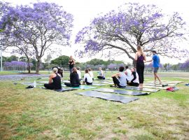 Workout in the park with lululemon